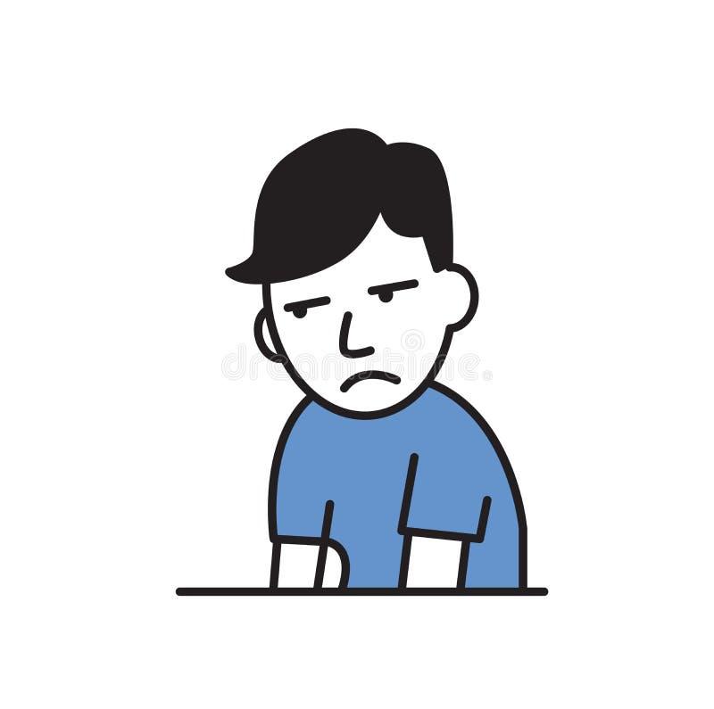 Jeune homme fatigué et bouleversé sentant un désordre Illustration plate de vecteur D'isolement sur le fond blanc illustration libre de droits