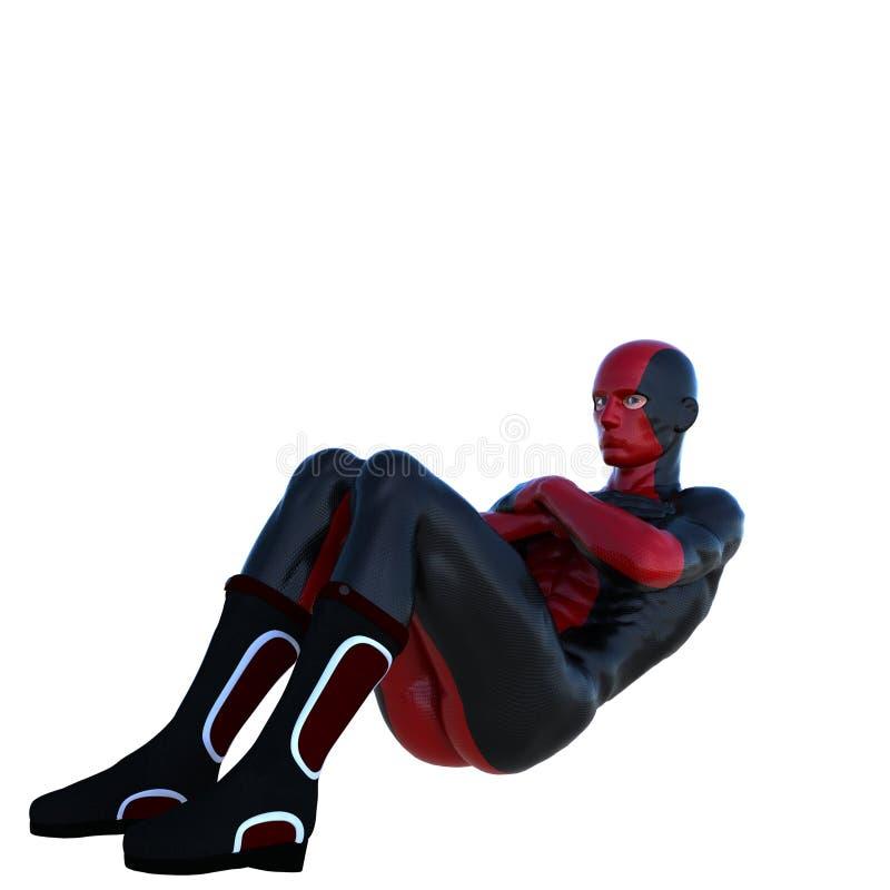 Jeune homme fort dans un costume superbe rouge et noir A donné des leçons particulières à un mensonge de presse illustration de vecteur