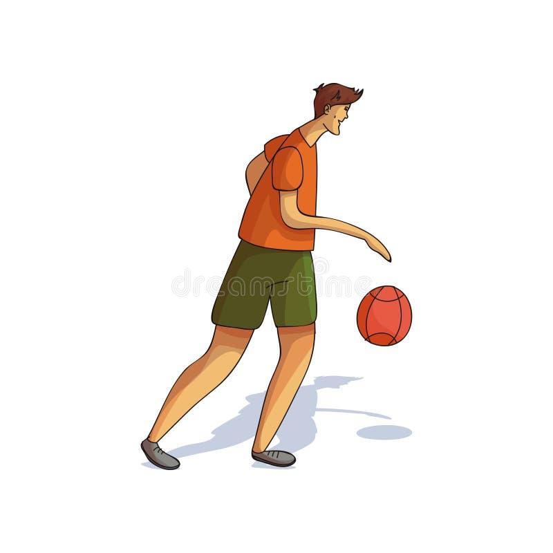 Jeune homme grand jouant au basket-ball Caractère sportif de type Style de vie actif Folâtre le thème Conception de vecteur de ba illustration libre de droits