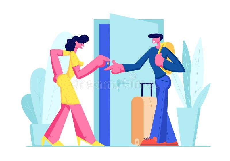 Jeune homme heureux avec le support de bagage près de l'appartement de loyer de porte ouverte pour des loisirs Propriétaire de fe illustration de vecteur