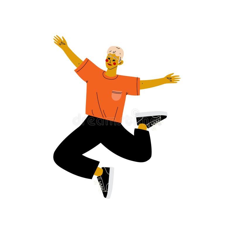 Jeune homme heureux dans des vêtements sport sautant célébrant l'événement important, soirée dansante, amitié, vecteur de concept illustration libre de droits