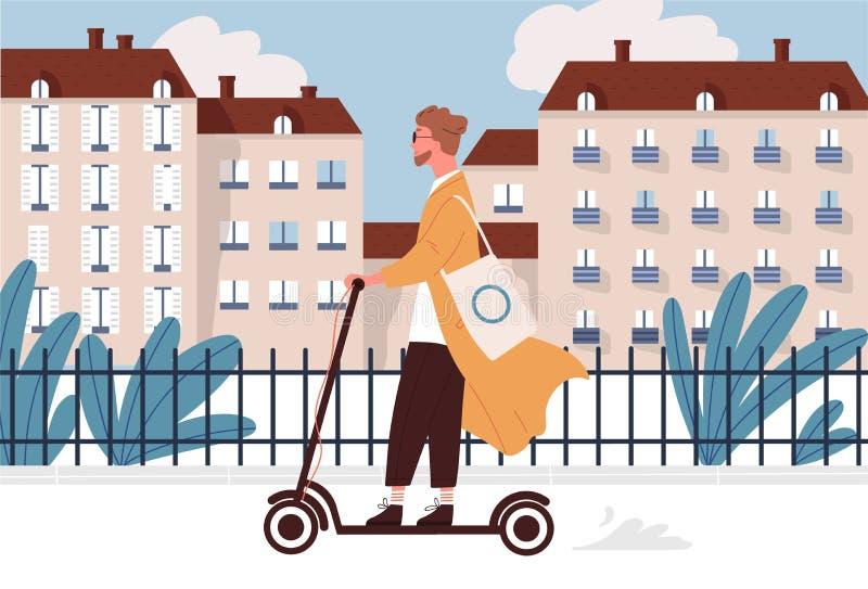 Jeune homme heureux montant le scooter motorisé ou électrique de coup-de-pied le long de la rue de ville Type de sourire de hippi illustration libre de droits
