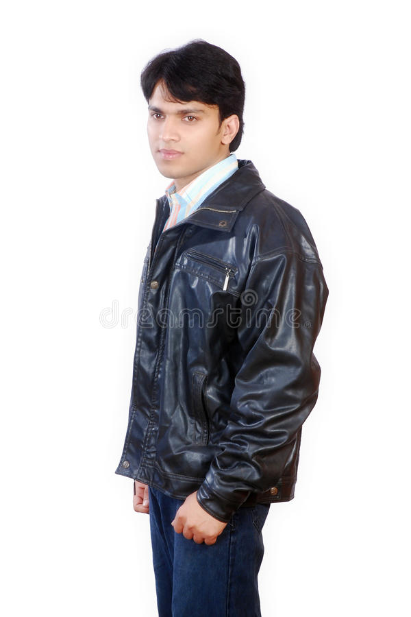 Jeune homme indien d'isolement sur le fond blanc images stock