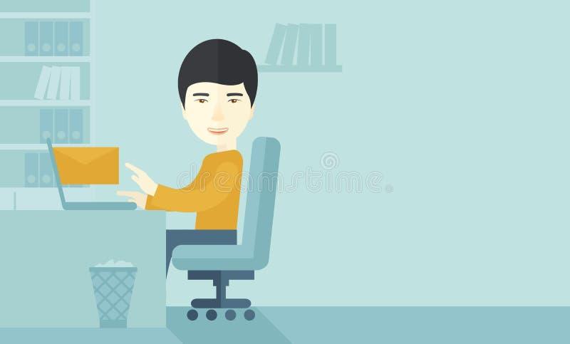 Jeune homme japonais heureux illustration de vecteur