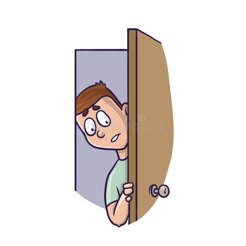 Jeune homme jetant un coup d'oeil dans légèrement la porte ouverte Concept d'agoraphobie illustration de vecteur