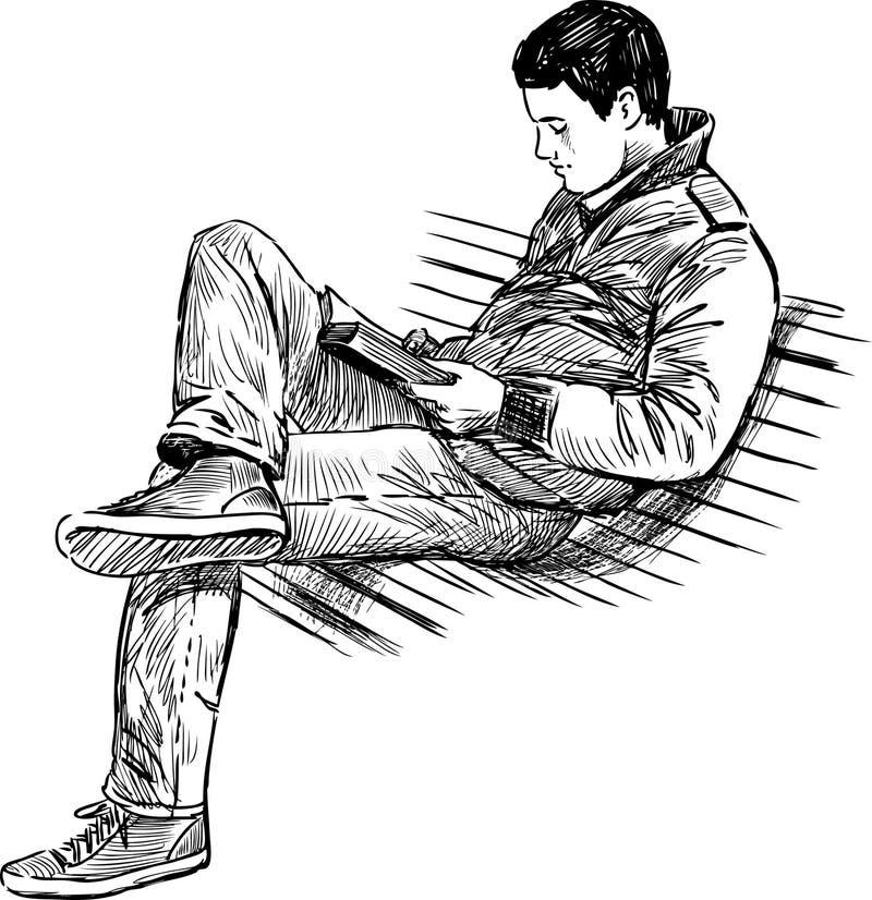 Jeune homme lisant un livre illustration stock