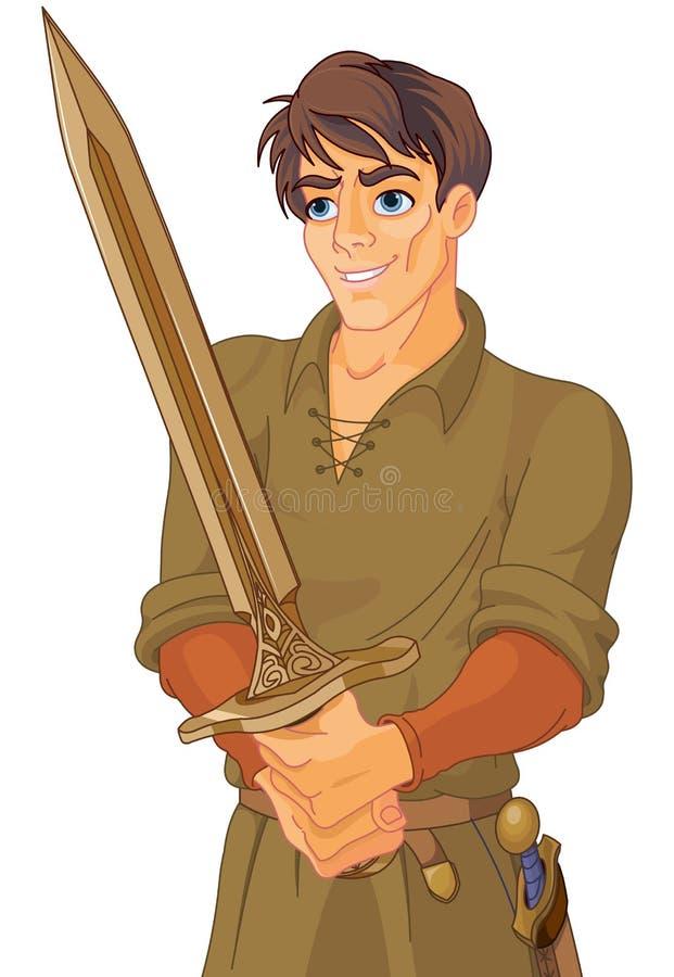 Jeune homme médiéval tenant une épée illustration libre de droits