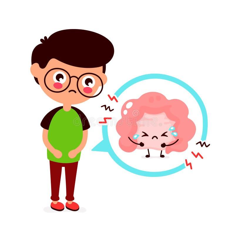 Jeune homme malade triste avec le problème d'intestin illustration stock