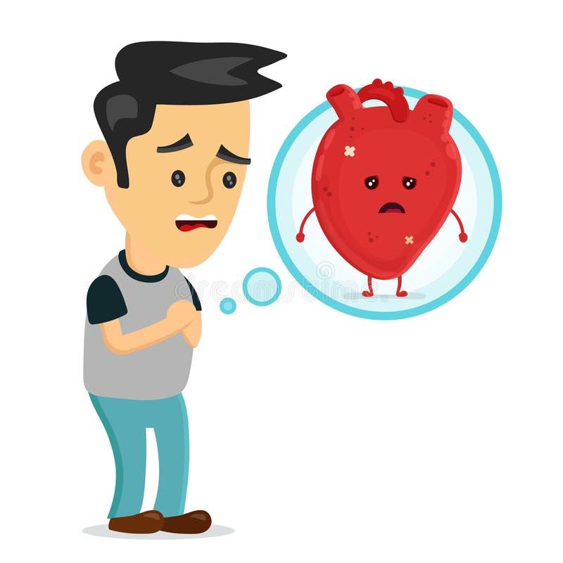 Jeune homme malade triste avec le problème de maladie cardiaque illustration stock