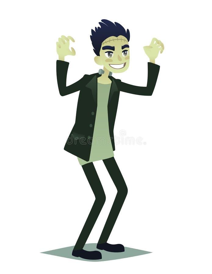 Jeune homme mignon dans le style du monstre de Frankenstein illustration stock