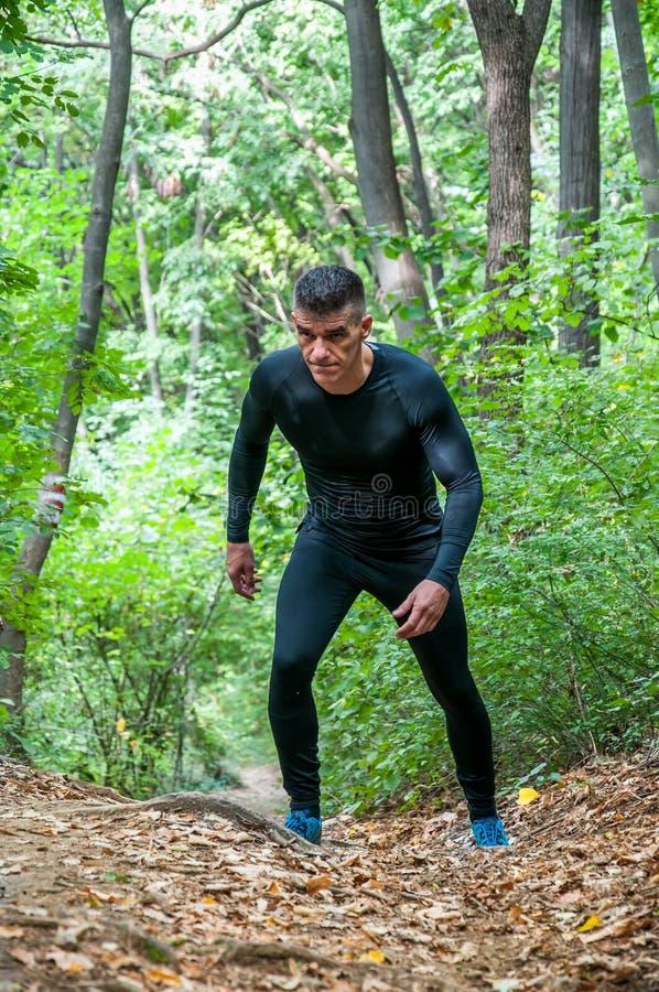 Jeune homme musculaire actif dans les vêtements de sport fonctionnant par le sentier piéton en nature dans la forêt pour la cardi photo stock