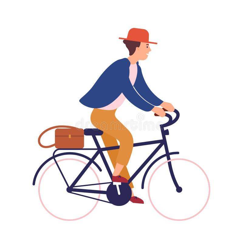 Jeune homme ou garçon heureux utilisant les vêtements sport et le vélo d'équitation de chapeau Personnage masculin de sourire sur illustration stock