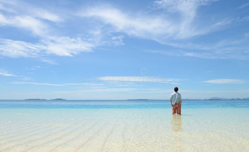Jeune homme regardant l'horizon sur la plage tropicale image libre de droits