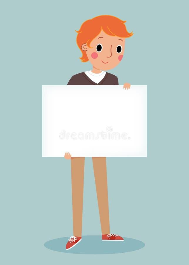 Jeune homme retenant le signe blanc illustration stock