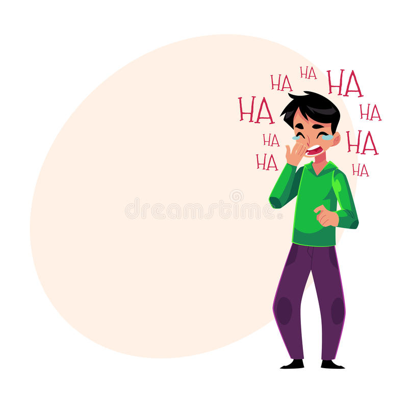 Jeune homme riant fort, pleurant du rire, tenant la bouche illustration libre de droits