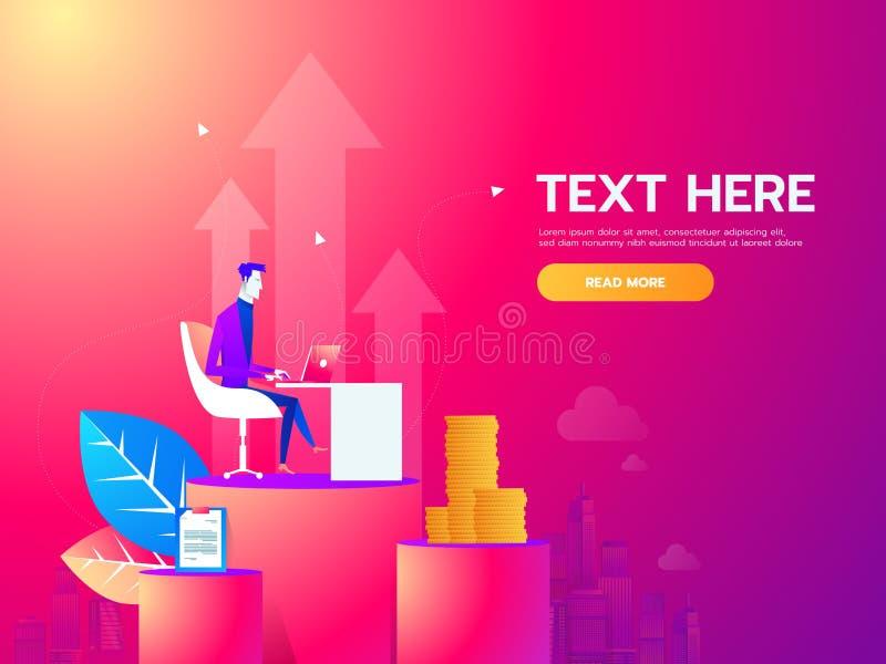 Jeune homme s'asseyant dans le bureau au bureau de travail et travaillant avec l'ordinateur portable Ligne moderne illustration d illustration stock