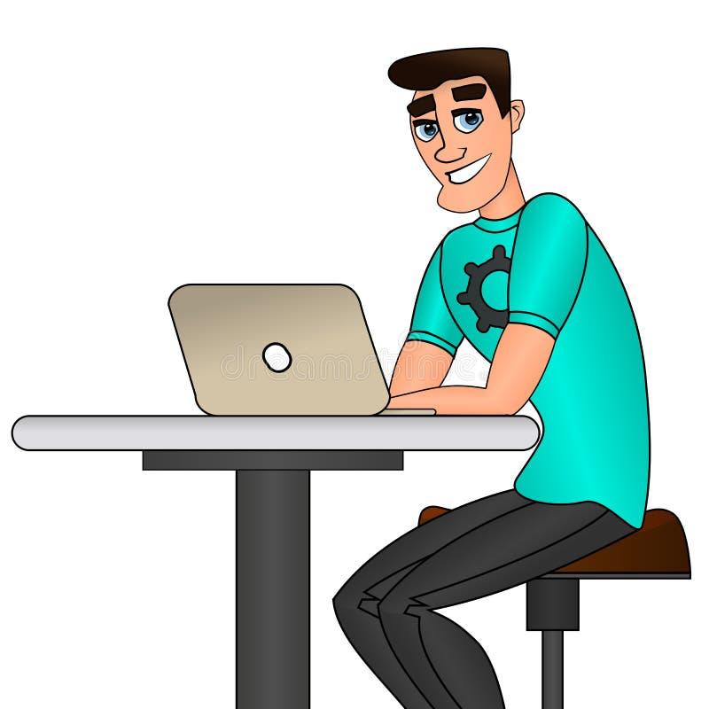 Jeune homme s'asseyant et travaillant sur l'ordinateur portable illustration libre de droits
