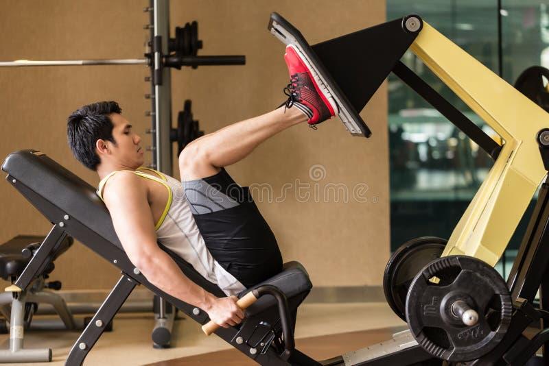 Jeune homme s'exerçant à la presse de jambe pendant la séance d'entraînement de partie inférieure du corps image stock