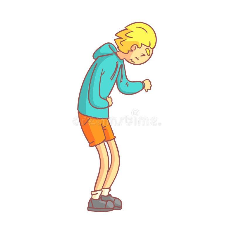 Jeune homme souffrant de la douleur abdominale Personnage de dessin animé coloré illustration libre de droits