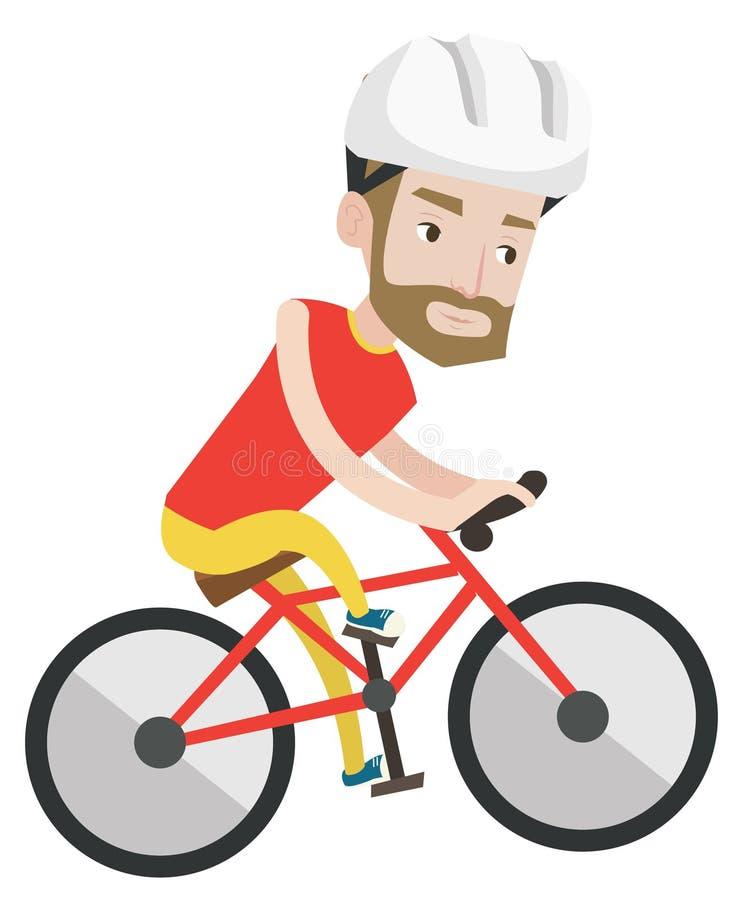 Jeune homme sur la bicyclette voyageant dans les montagnes illustration libre de droits