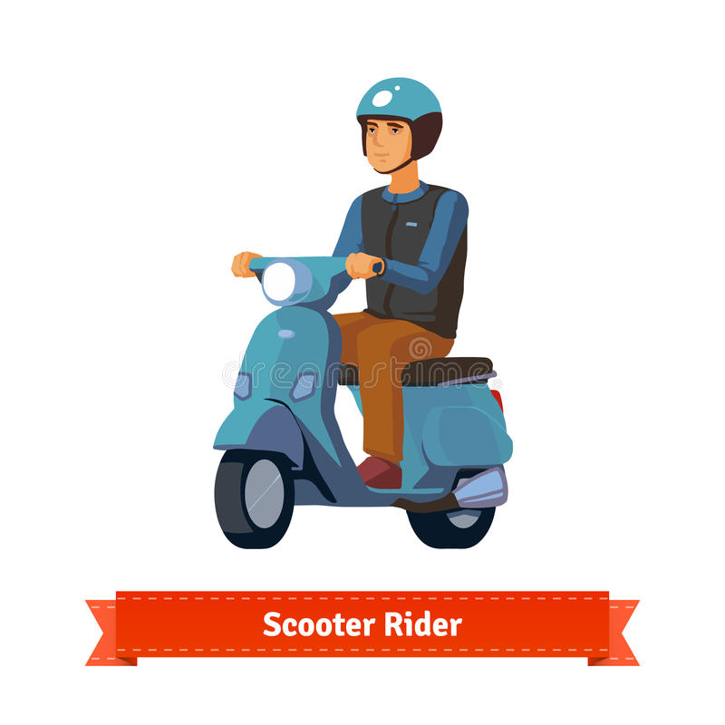 jeune homme sur un scooter avec le casque illustration de vecteur illustration du illustration. Black Bedroom Furniture Sets. Home Design Ideas