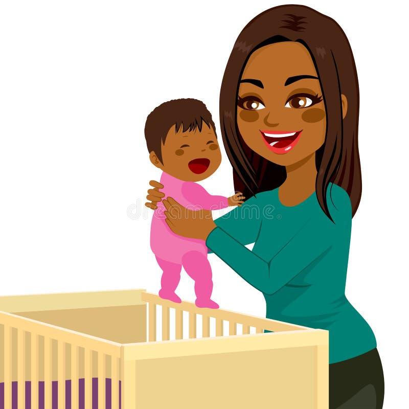 Jeune huche de bébé de maman illustration stock