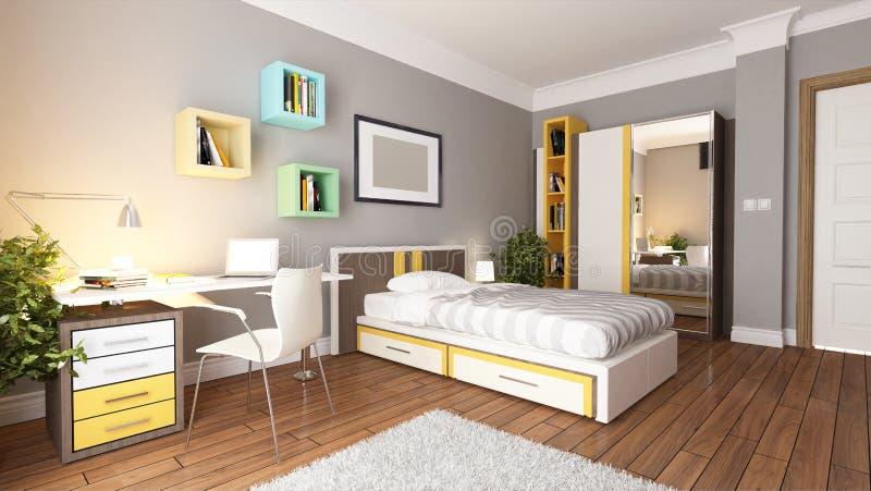 Jeune idée de l'adolescence de conception de chambre à coucher illustration libre de droits