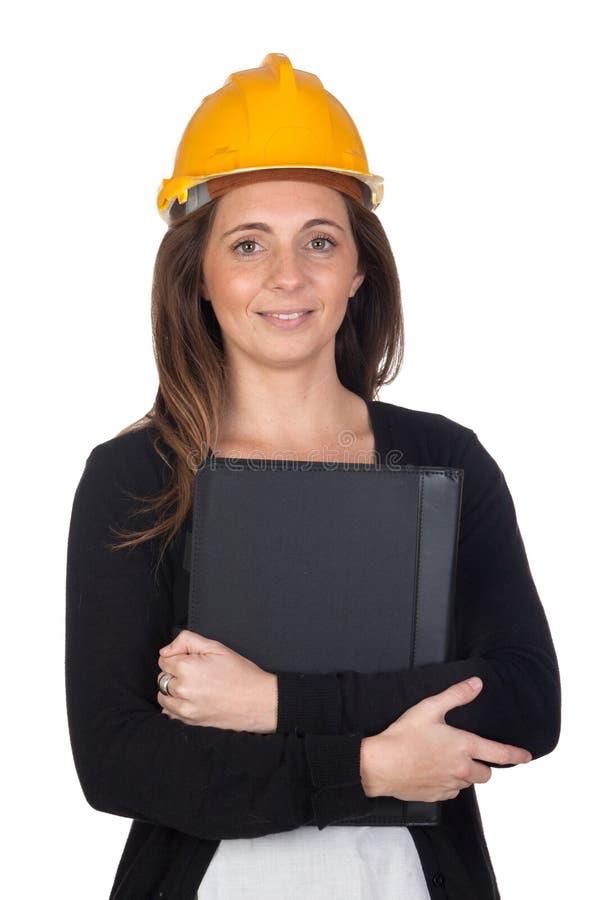 Jeune ingénieur avec et casque de garantie photos stock