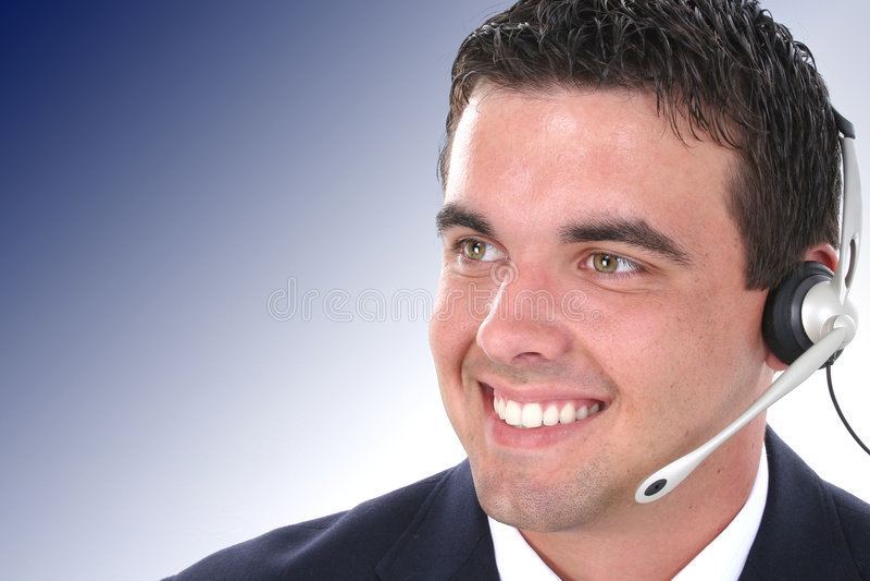 Jeune intervenant du service client attirant image libre de droits