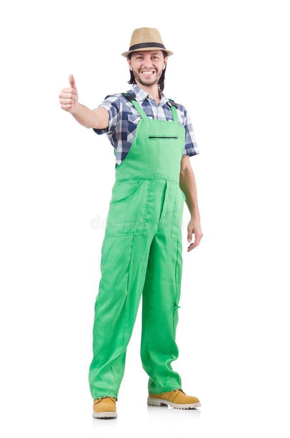 Jeune jardinier gai dans le chapeau et l'uniforme vert photographie stock libre de droits