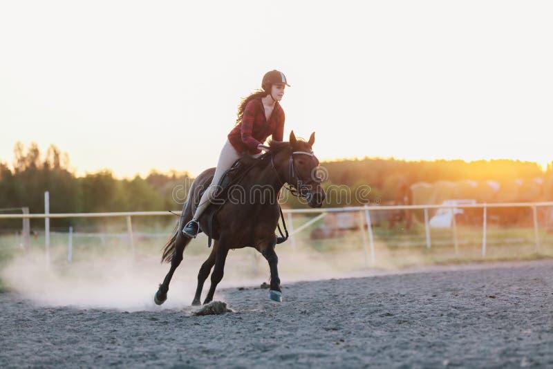Jeune jockette montant le cheval dans le pré photographie stock