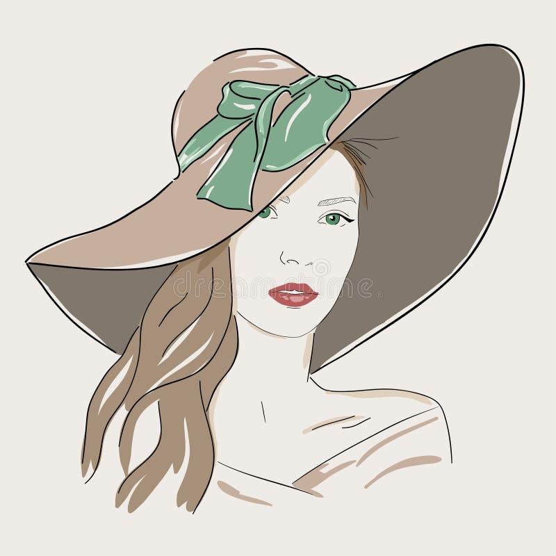 Jeune joli portrait de femme dans le chapeau Yeux verts de dame romantique illustration de vecteur