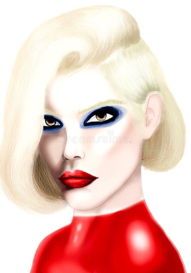 Jeune jolie femme avec les cheveux blonds et les lèvres rouges photo libre de droits
