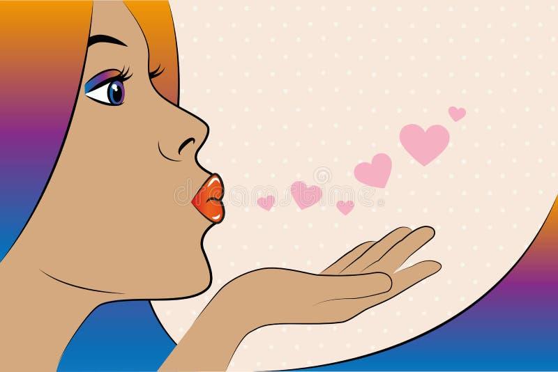 Jeune jolie femme avec les cheveux colorés envoyant à art de bruit de baisers le style comique illustration de vecteur