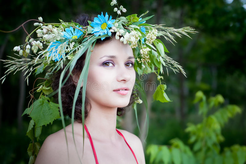 Jeune jolie femme dans la forêt, fée photos stock