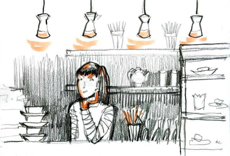 Jeune jolie femme, fille dans la barre Le croquis de barmaid de fille Café Illustration tirée par la main illustration stock