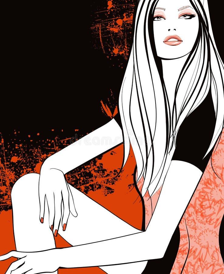 Jeune jolie fille dans l'orange illustration de vecteur