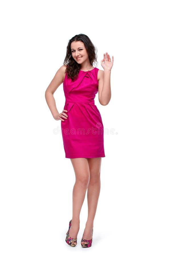 Jeune jolie fille faisant des gestes le bonjour photos stock