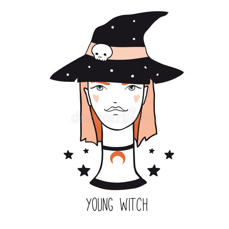 Jeune, jolie, rouge sorcière de bande dessinée de cheveux illustration libre de droits