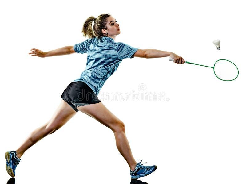 Jeune joueur de badminton de femme de fille d'adolescent d'isolement photo stock