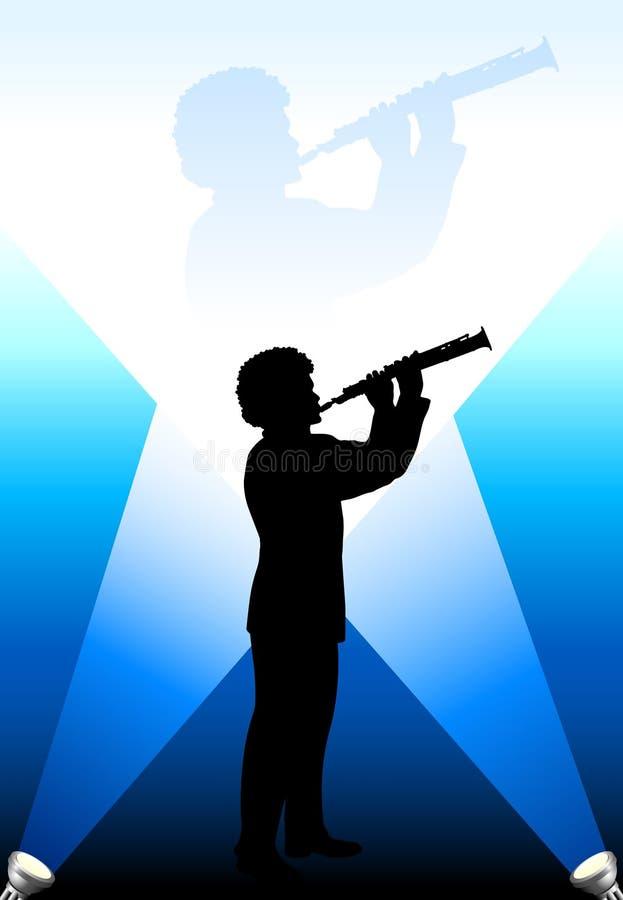 Jeune joueur de cannelure/clarinet dans les lumières lumineuses illustration libre de droits