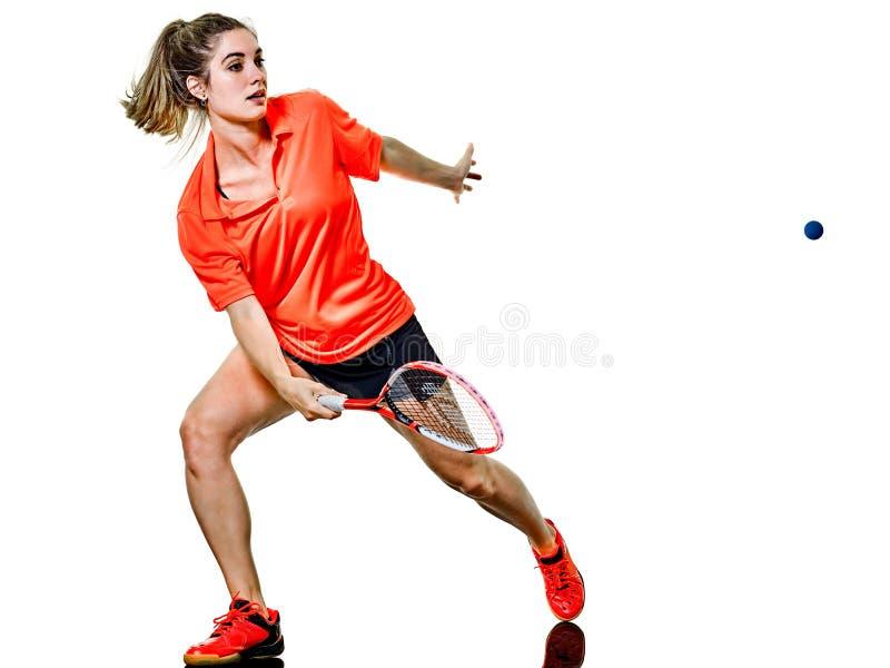 Jeune joueur de courge de femme de fille d'adolescent d'isolement photo libre de droits