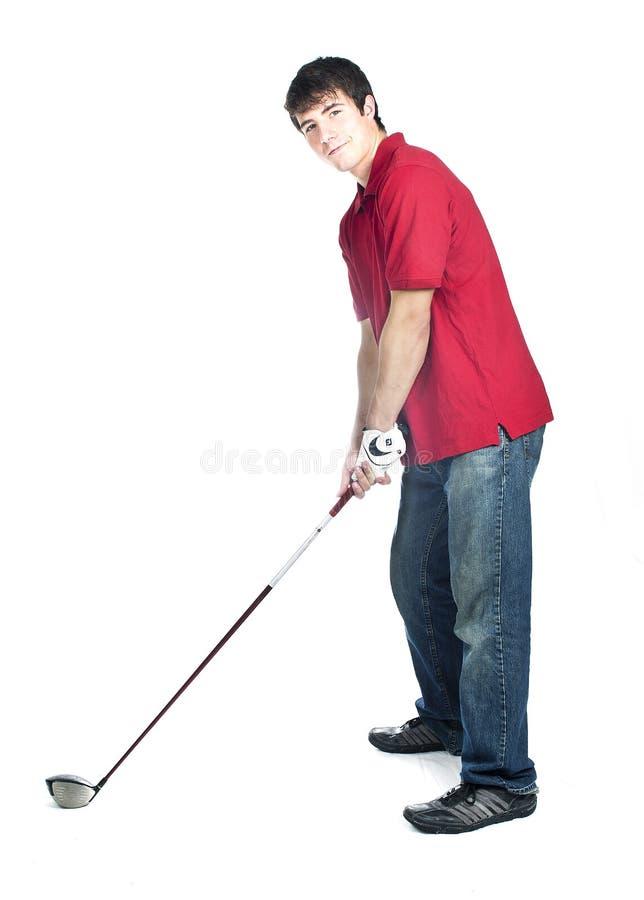 Jeune joueur de golf mâle images libres de droits