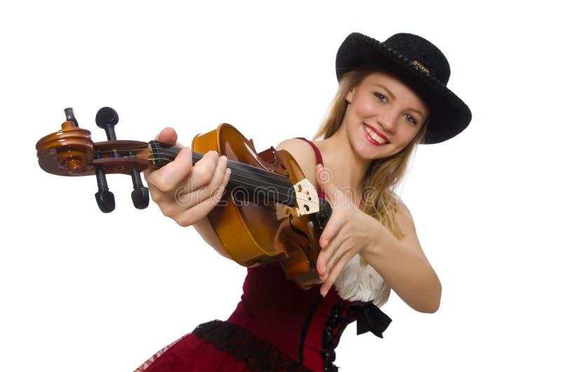 Jeune joueur de violon d'isolement photographie stock