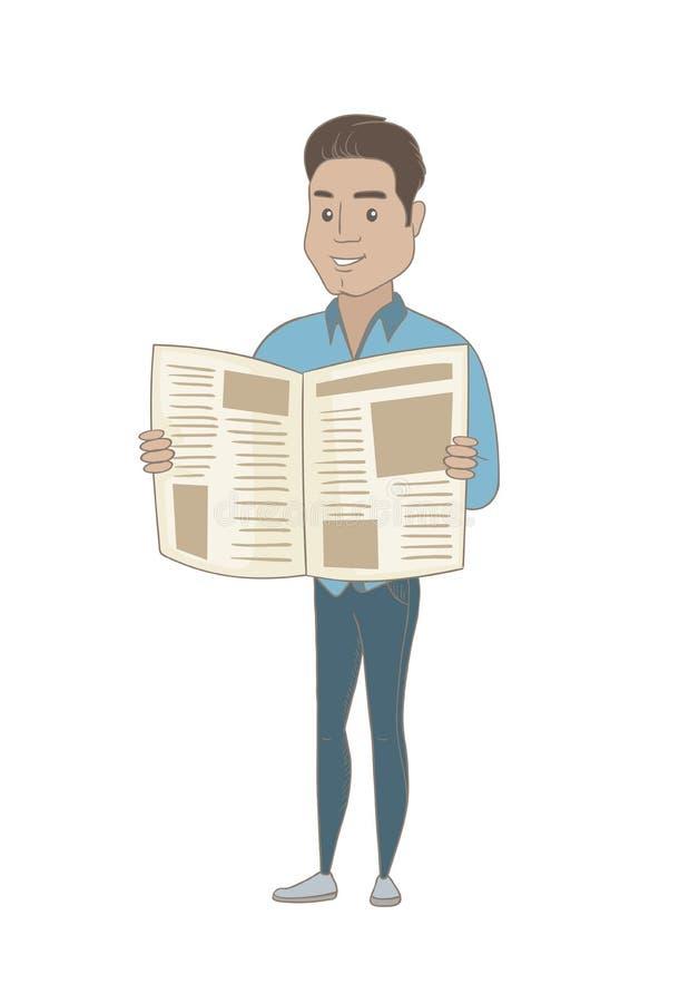 Jeune journal hispanique de lecture d'homme d'affaires illustration de vecteur