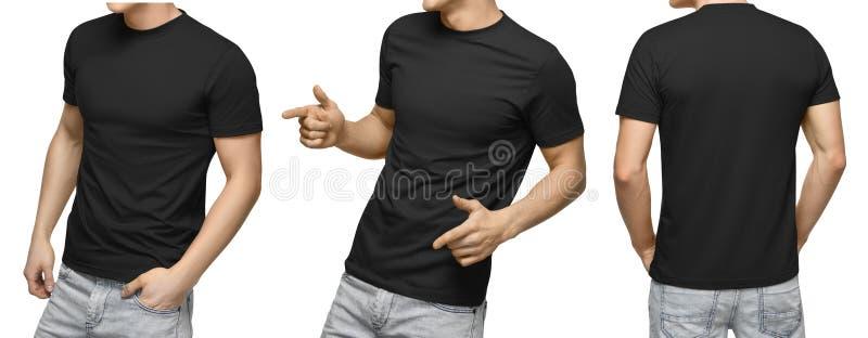 Jeune mâle dans le T-shirt noir vide, l'avant et la vue arrière, fond blanc Concevez le calibre et la maquette de T-shirt d'homme photo stock