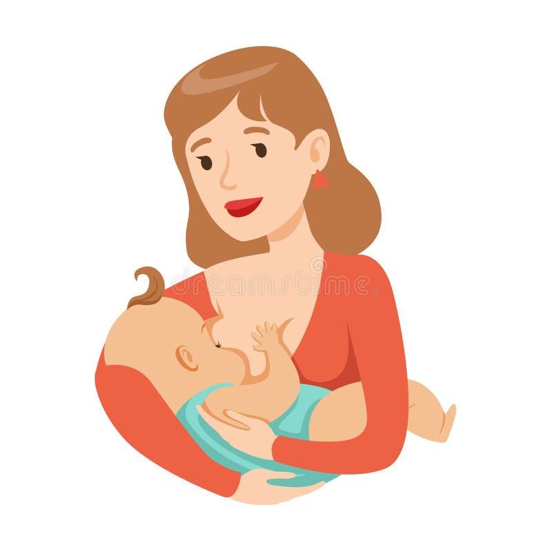 Jeune mère allaitant son bébé avec le lait maternel, illustration colorée de vecteur de personnage de dessin animé illustration de vecteur
