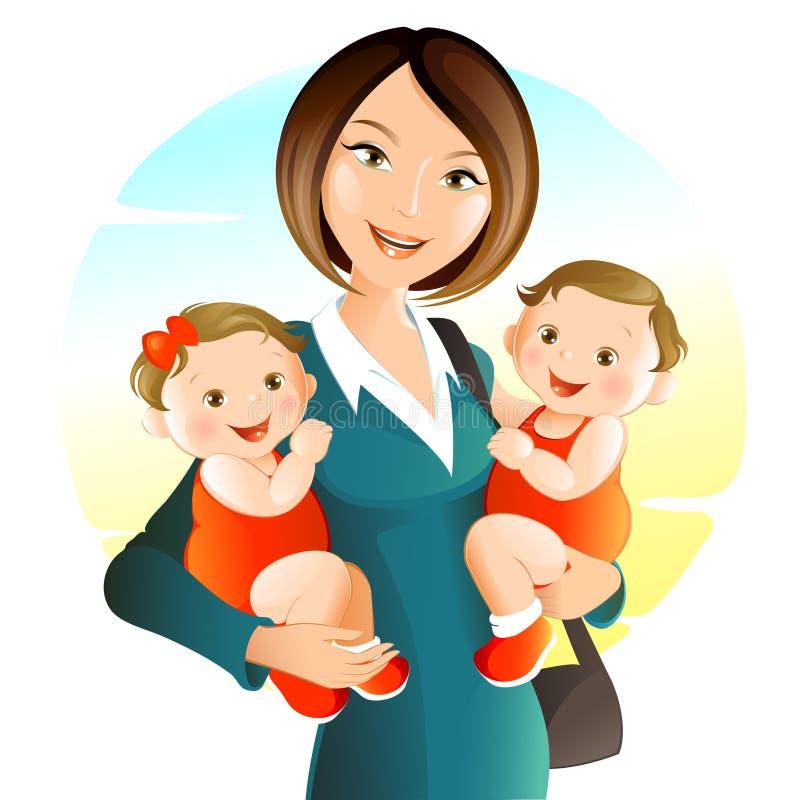 Jeune mère avec la chéri illustration de vecteur