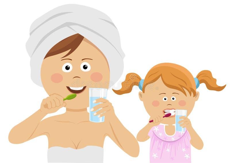 Jeune mère avec sa petite fille se brossant les dents illustration libre de droits
