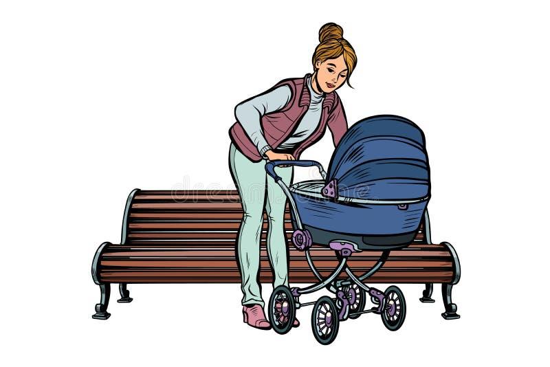Jeune mère avec une voiture d'enfant, banc de parc illustration libre de droits